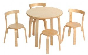 scandinavian child, chair and table set