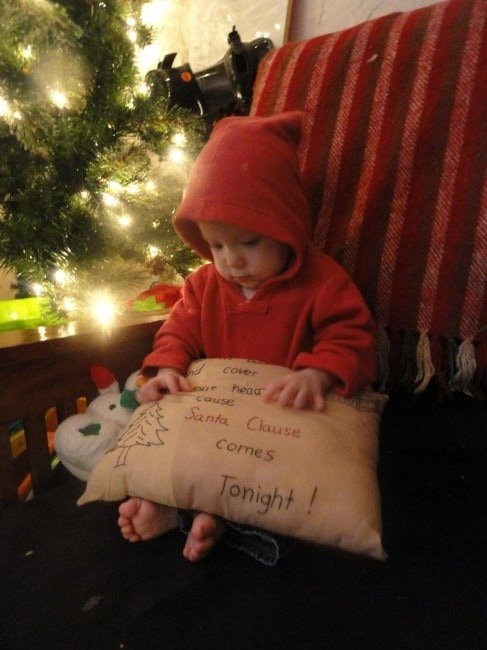 Contemplating the meaning of the message on the pillow....