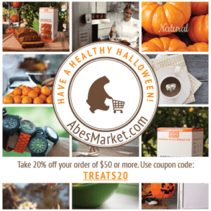 In honor of a healthy Halloween, share treats from Abe's in the form of this generous coupon code.