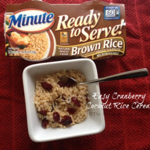 Easy Cranberry Coconut Rice Cereal #LoveEveryMinute