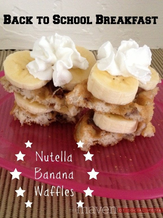 Nutella Banana Waffles - Back to School Breakfast - The Maven of Social Media® http://themavenofsocialmedia.com/2013/08/nutella-banana-waffles/