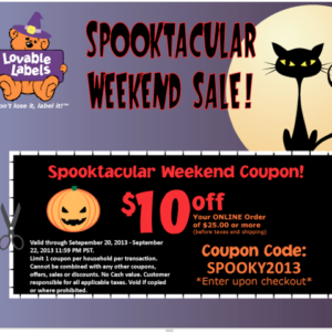LOVABLE LABELS SPOOKTACULAR SALE
