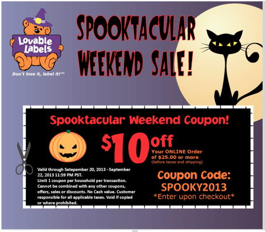 Lovable Labels Spooktacular Sale!