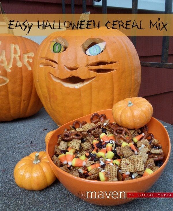 halloween pumpkins and a bowl of candy corn chex mix