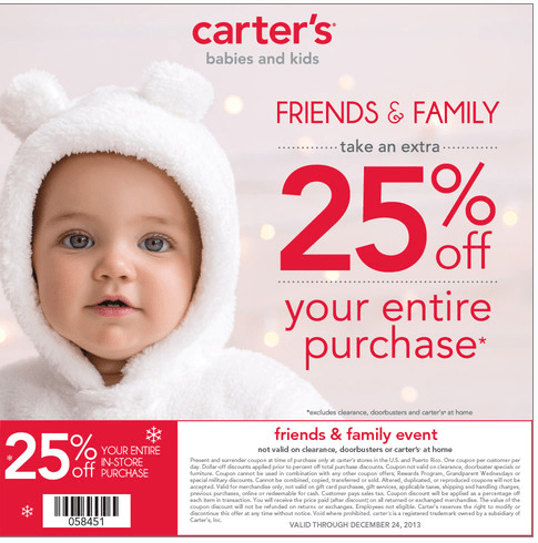 Hurry! Save 25% at the Carter's Friends and Family Event!