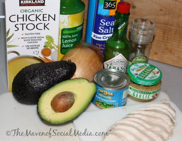 Avocado and Chicken Soup ingredients