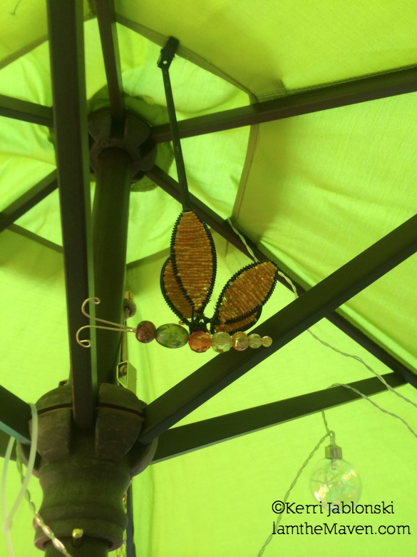 Umbrella, dragonflies and lights #Pier1OutdoorParty #Sponsored #MC