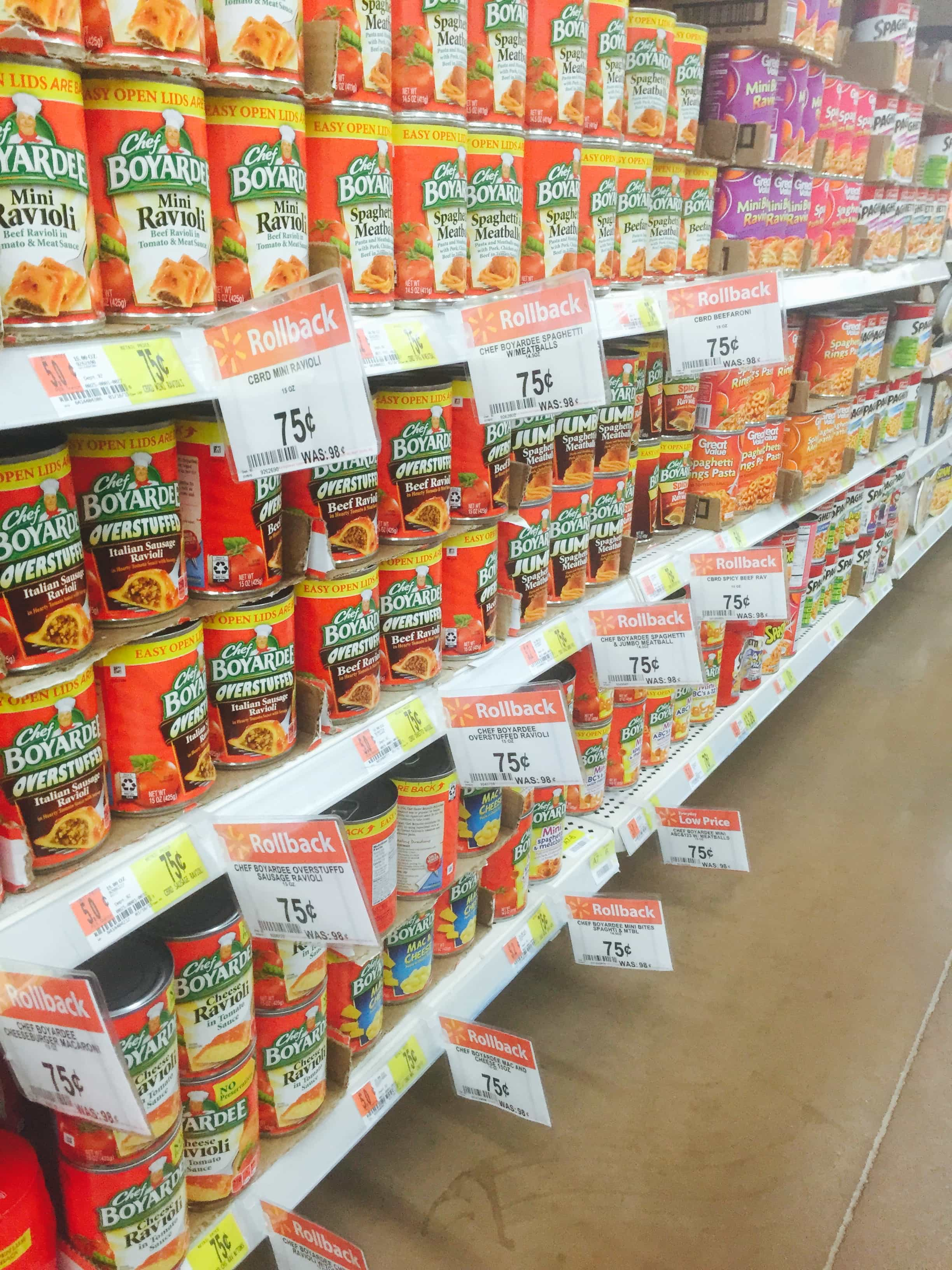 Chef Boyardee is on rollback at Walmart for only $0.75!