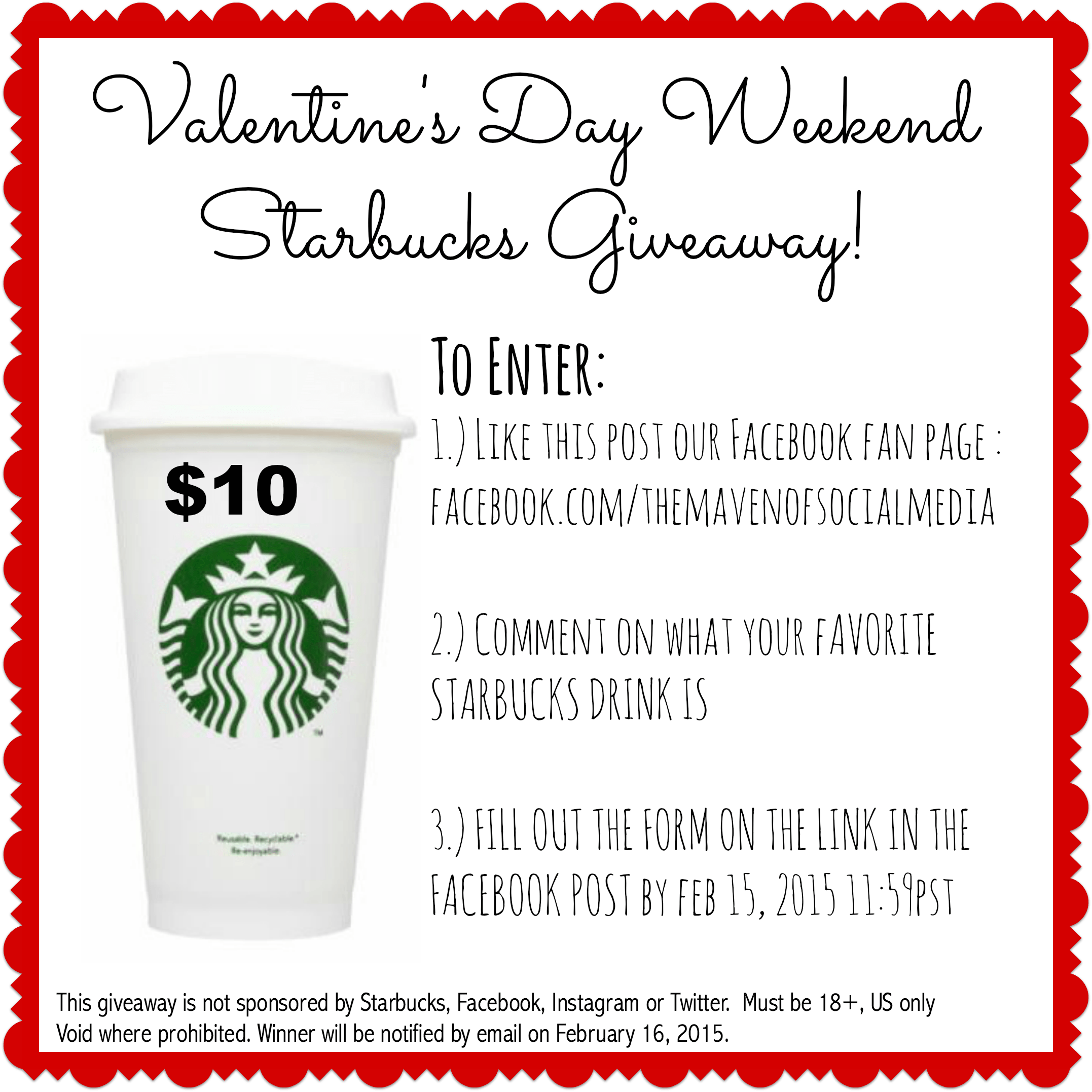 Valentine's Day Weekend  Starbucks Giveaway!