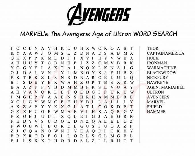 The Avengers word search #AvengersUnite #ad