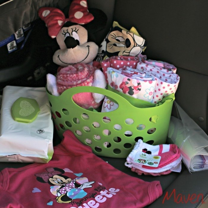 A small basket with baby blowout essentials #MagicBabyMoments AD