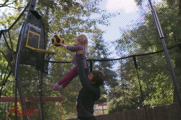 Play basketball on your trampoline #SpringFreeFamily #Sponsored