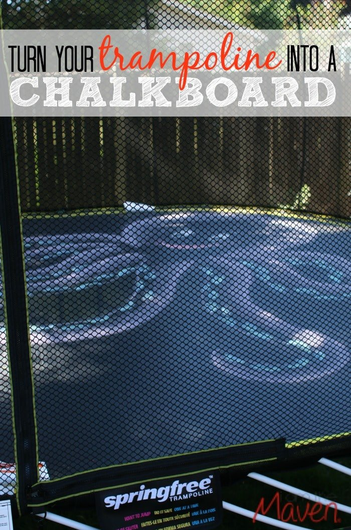 Did you know you can turn your trampoline into a giant chalkboard? Whether it's a game of tic tac toe or a beautiful mural, let your imagination soar! #SpringFreeFamily SPONSORED