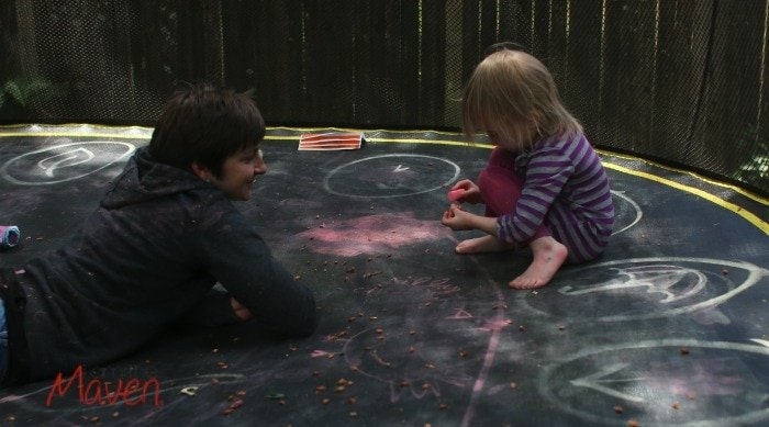 Draw a gameboard on your trampoline #Springfreefamily #Sponsored
