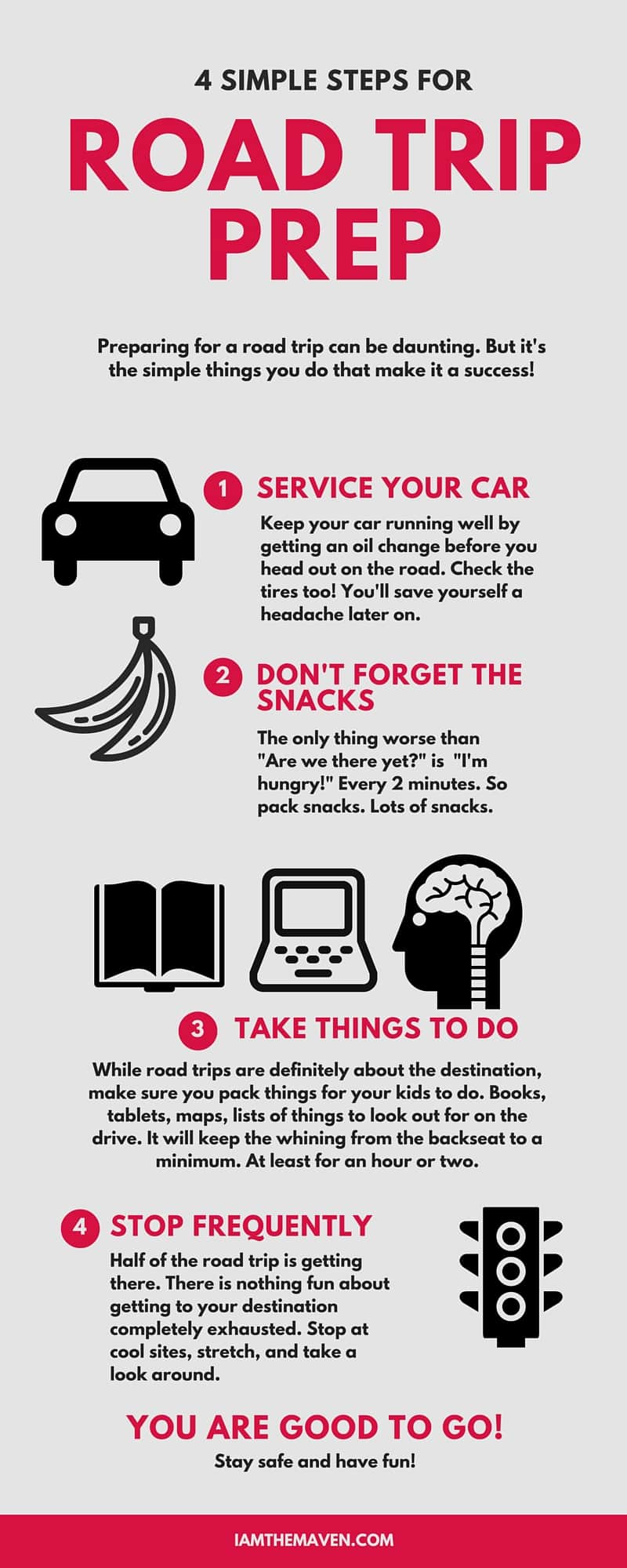 Headed out on a road trip? Here's a quick road trip prep checklist to help you plan!