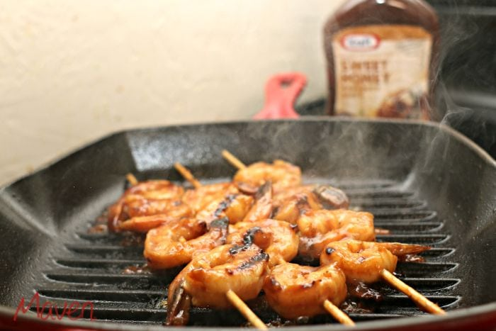 BBQ Shrimp on your cast iron pan takes minutes on the stovetop! #FireUpTheGrill AD