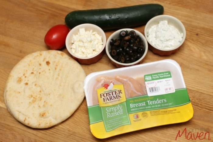 Everything you need to make greek inspired chicken nachos! #FosterFarmsFresh #ad