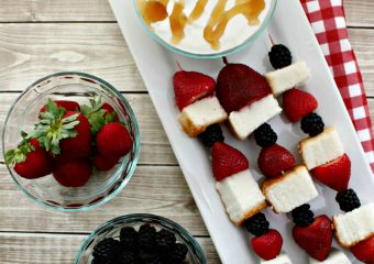 Angel Food Cake Kabobs with Vanilla Honey Yogurt Dip