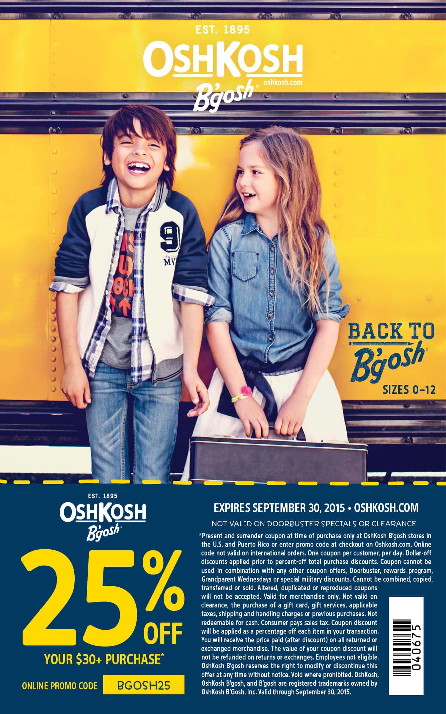 Save 25% on your $30+ purchase at Oshkosh Bgosh until September 30