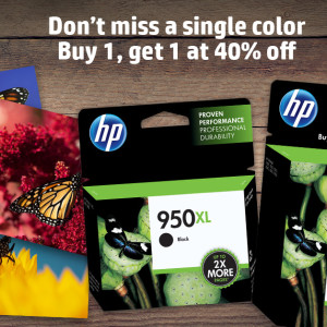 Buy one Original HP Ink, get a 2nd cartridge of equal or lesser value for 40% off