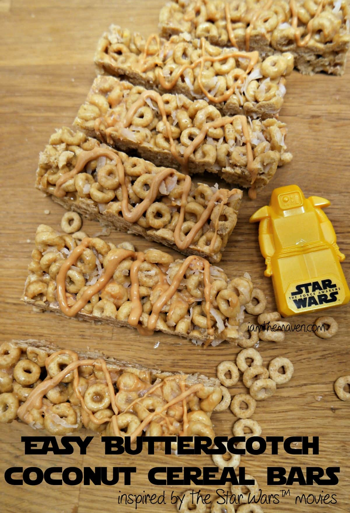 These butterscotch coconut cereal bars are easy peasy to make and enjoy while waiting in line to see Star Wars™ #FoodAwakens AD