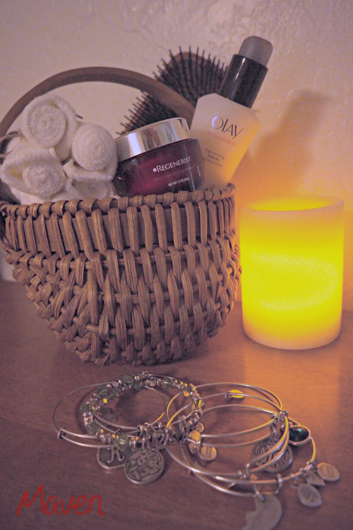 Put together a holiday self care basket, including Olay products. #HolidayGlow AD