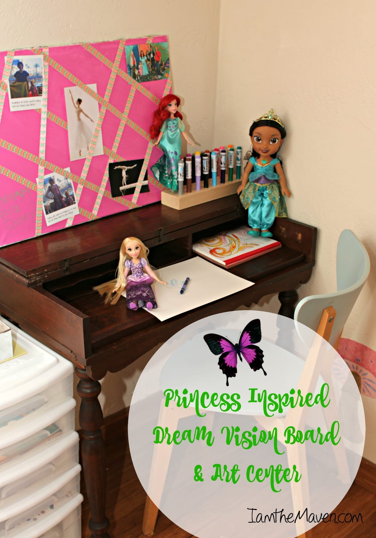 Make a Disney Princess Vision Board and Art Center for the Little Dreamer in Your Life #InspireBigDreams #DreamBigPrincess AD