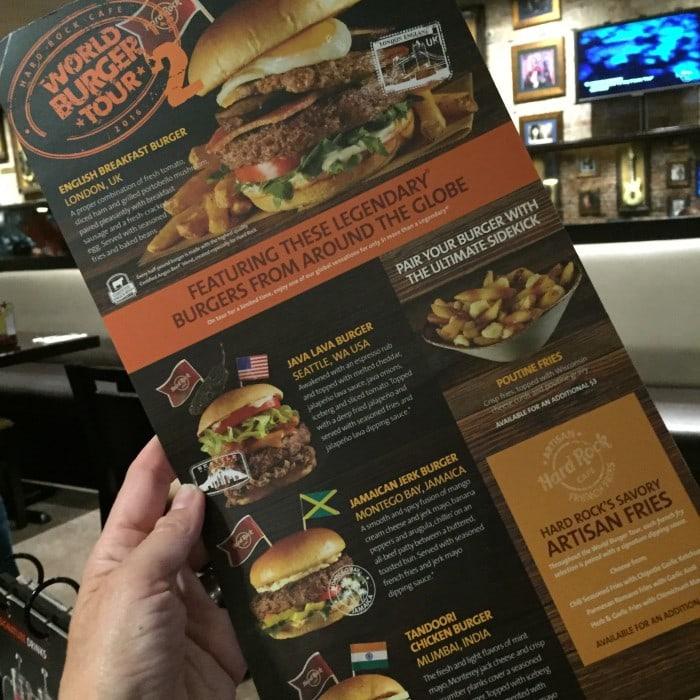 World Burger Tour Menu