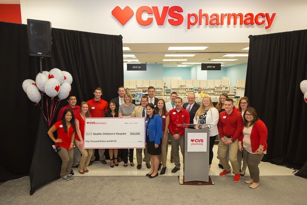 Members of CVS Pharmacy and Target celebrate the official unveiling of the first CVS Pharmacy in Target stores in the state of Washington. The event, which took place on June 7, 2016, also included a $50,000 donation to Seattle Children's Hospital.
