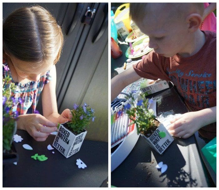 Kids love decorating paper cartons to plant flowers in.