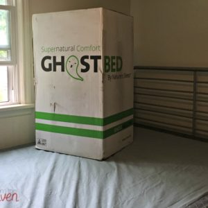 The GhostBed memory foam mattress, sent right to your door and set up in minutes.