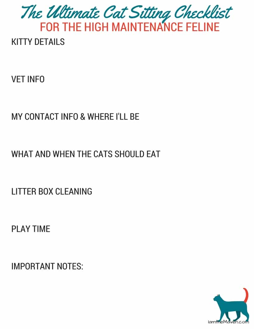 The Ultimate Cat Sitting Checklist #PerfectPortions ad