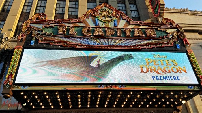 The Pete's Dragon Premiere on the El Capitan Marquee