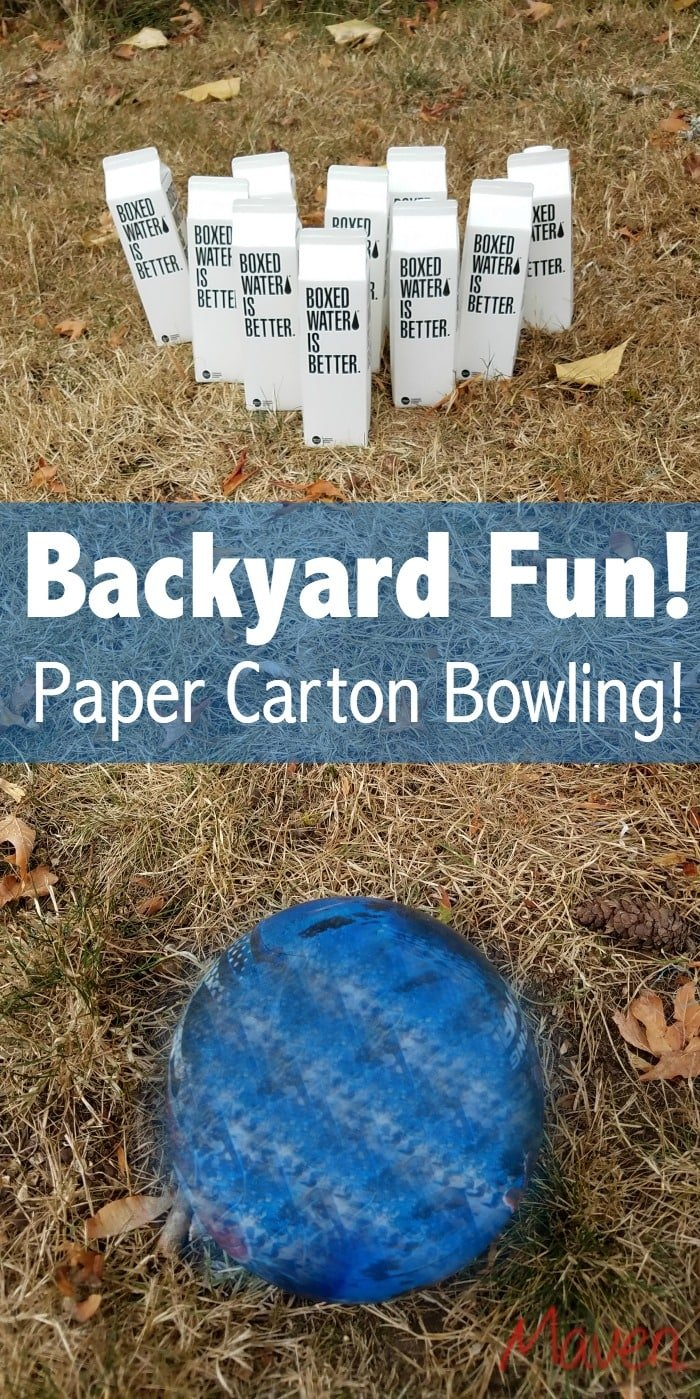 "Instant backyard fun! Set up ""bowling alleys"" with paper cartons and playground balls!"