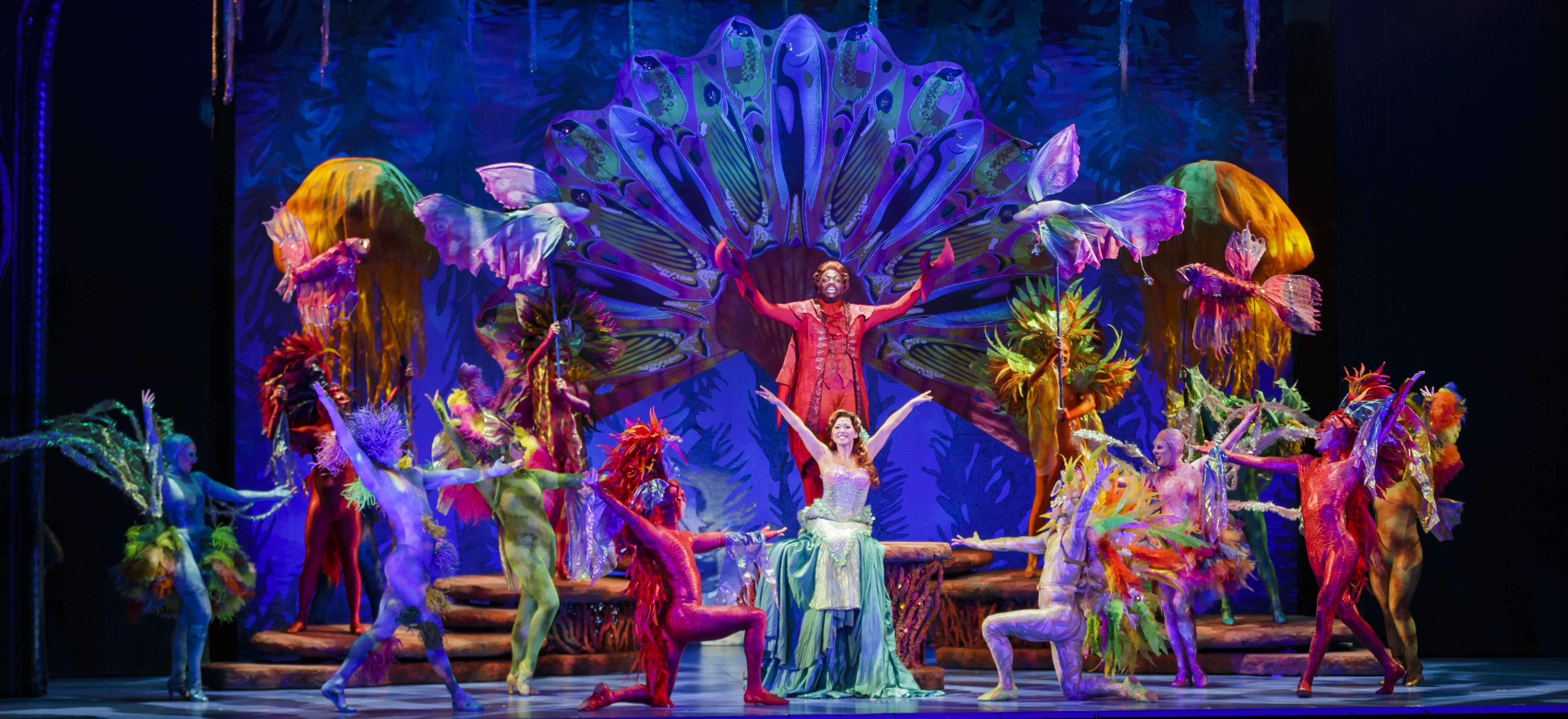 """Under the Sea"" with the Company of The 5th Avenue Theatre's production of Disney's The Little Mermaid. Photo by Mark Kitaoka."