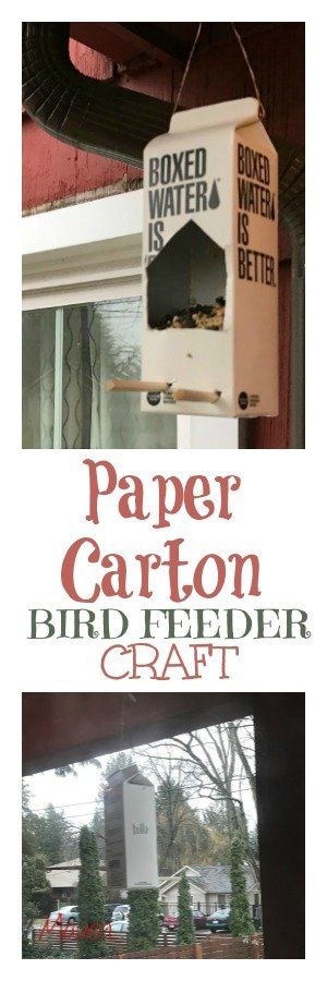 Make your own paper carton bird feeder in just 6 easy steps! It's a great way to teach kids about nature and recycling with this preschool friendly craft!
