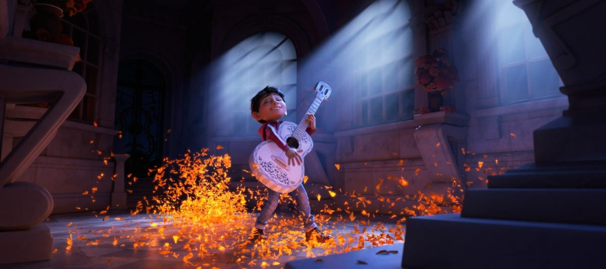 "Progression Image 3 of 3: Final Frame..ASPIRING MUSICIAN — In Disney•Pixar's ""Coco,"" Miguel (voice of newcomer Anthony Gonzalez) dreams of becoming an accomplished musician like the celebrated Ernesto de la Cruz (voice of Benjamin Bratt). But when he strums his idol's guitar, he sets off a mysterious chain of events. Directed by Lee Unkrich, co-directed by Adrian Molina and produced by Darla K. Anderson, ""Coco"" opens in theaters Nov. 22, 2017."