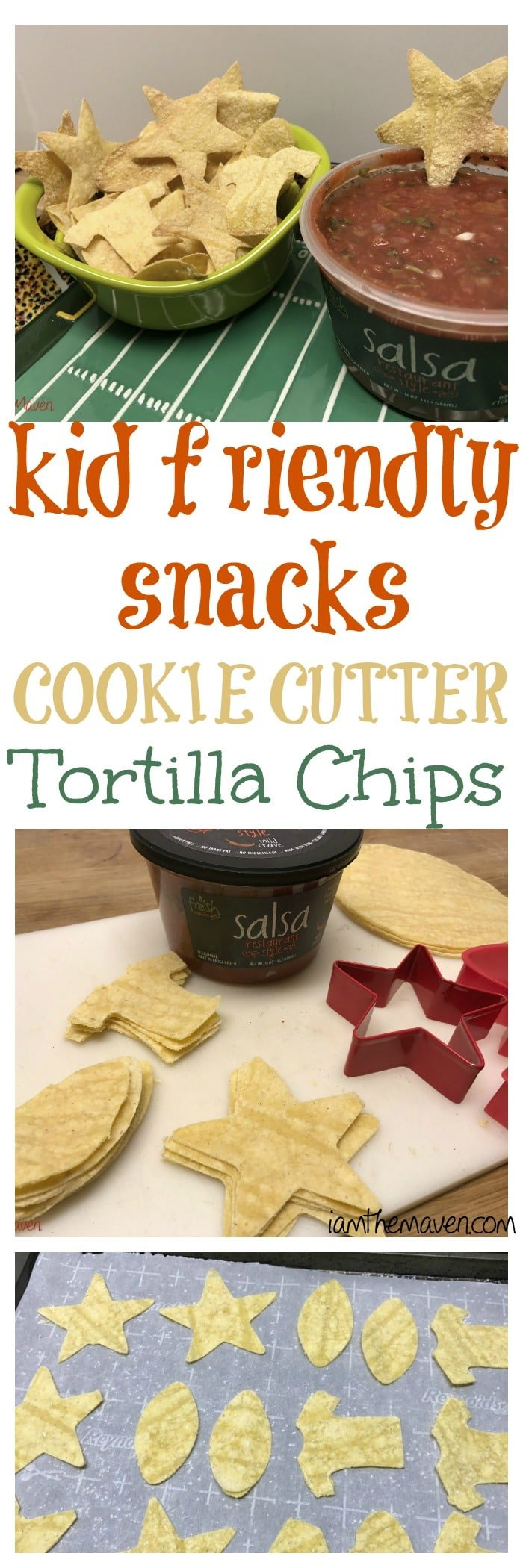 You'll love these kid friendly snacks! Cookie Cutter Tortilla Chips! Pair them with salsa for a new family favorite!