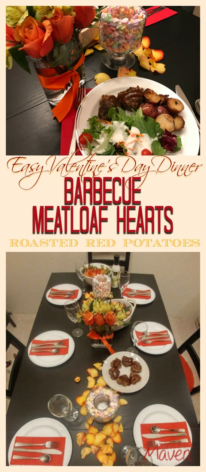 Make an easy Valentine's Day Dinner with Barbecue Meatloaf Hearts, Roasted Red Potatoes and Green Salad. Your local Safeway or Albertsons has everything you need, including an incredible floral department. This post is sponsored by Safeway.