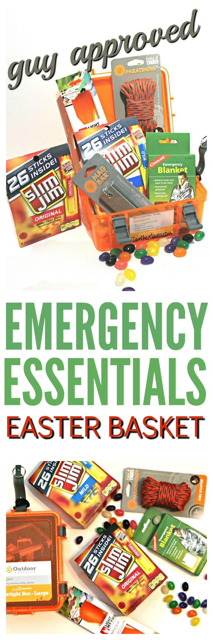 Make this awesome guy approved easter basket for men, full of emergency essentials. #SlimJimBoldBaskets #ad
