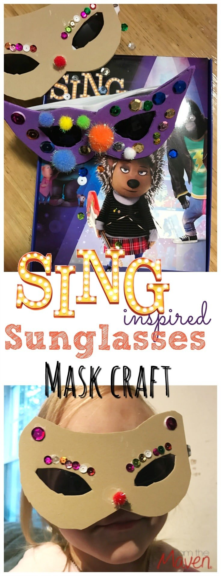 Easy SING inspired sunglasses mask craft!