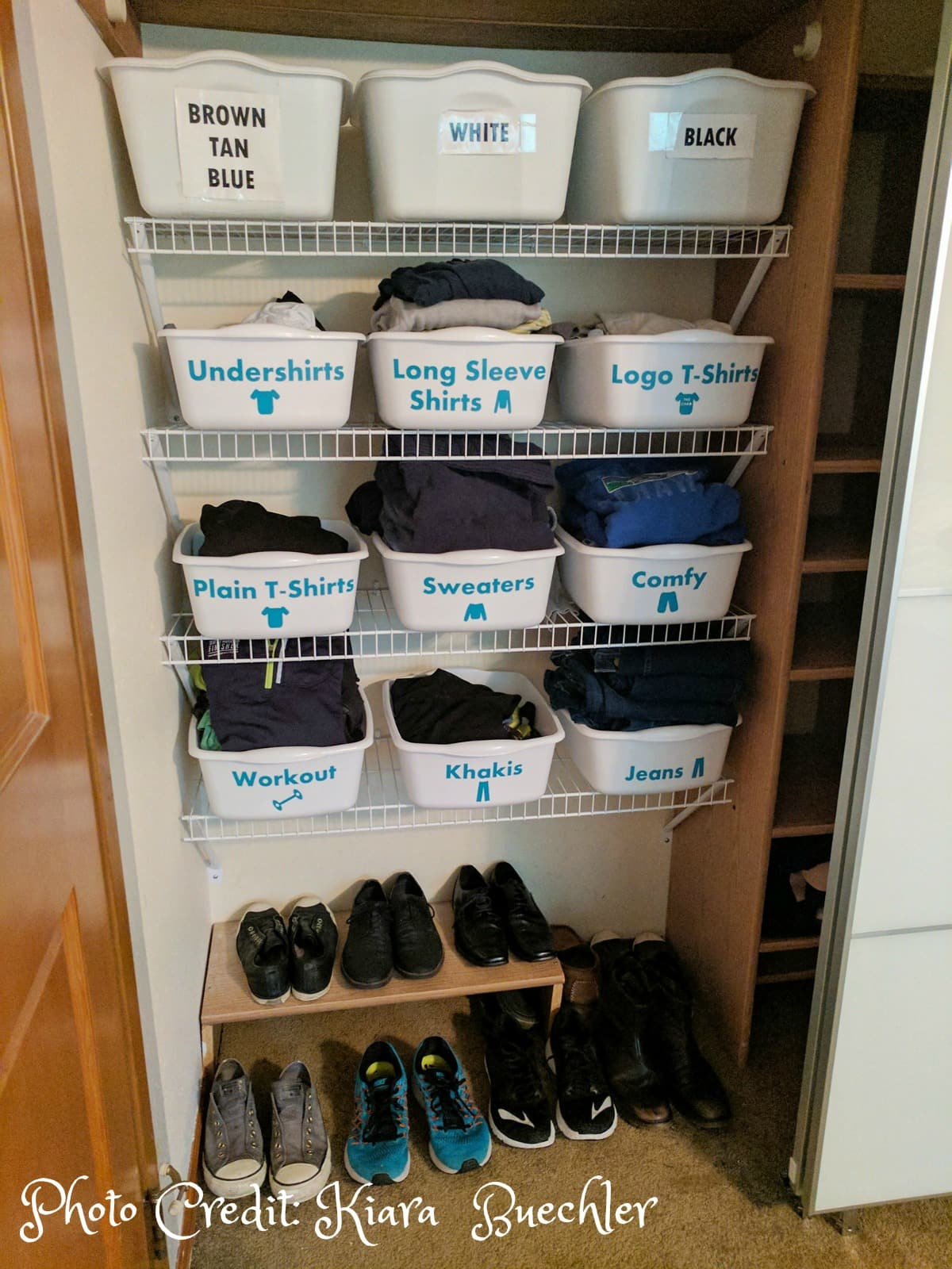 Organize your closet with dollar store bins