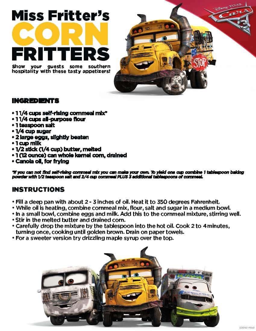Cars 3 Corn Fritters Recipe