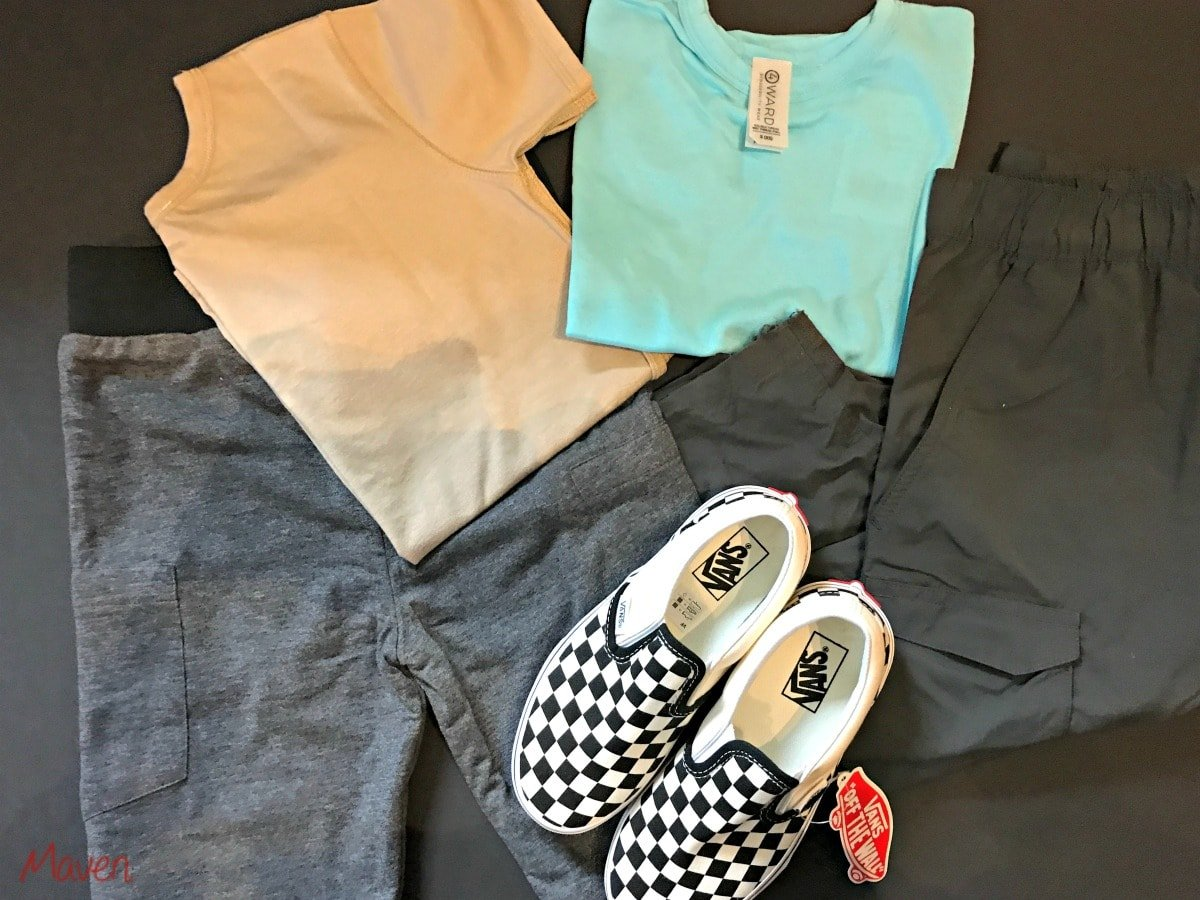 Adaptive clothing: 4 way shirts, elastic pants, slip on shoes