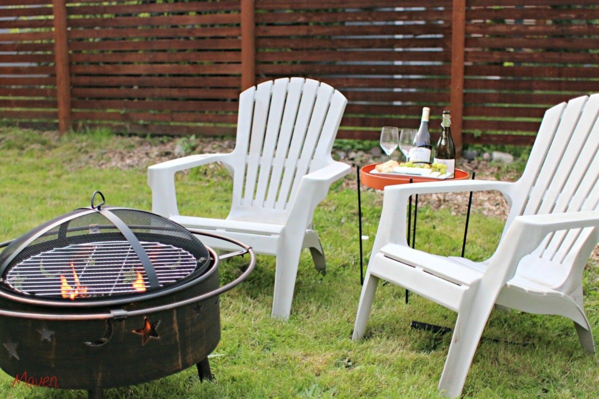 Enjoying wine outdoors with a firepit
