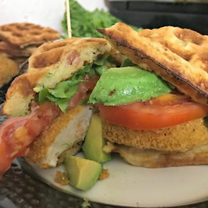 The BEST Bacon Cheddar Waffle Chicken Sandwich