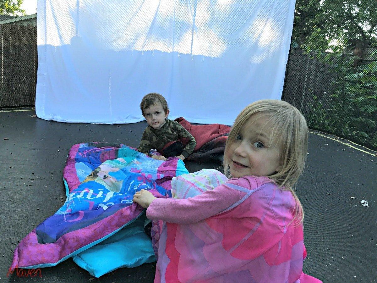 Sleeping bags on trampolines!