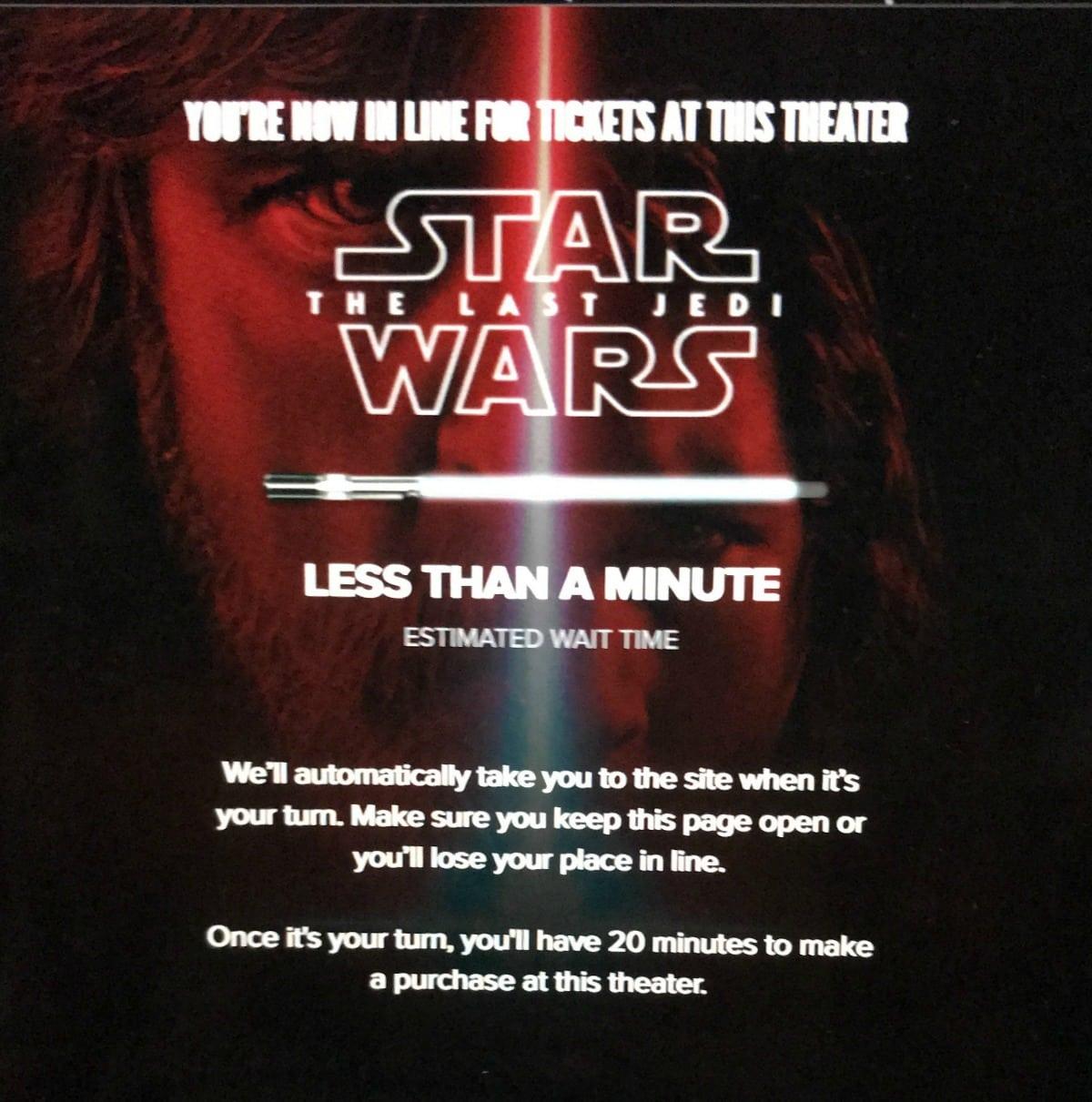 star wars jedi ticket sales