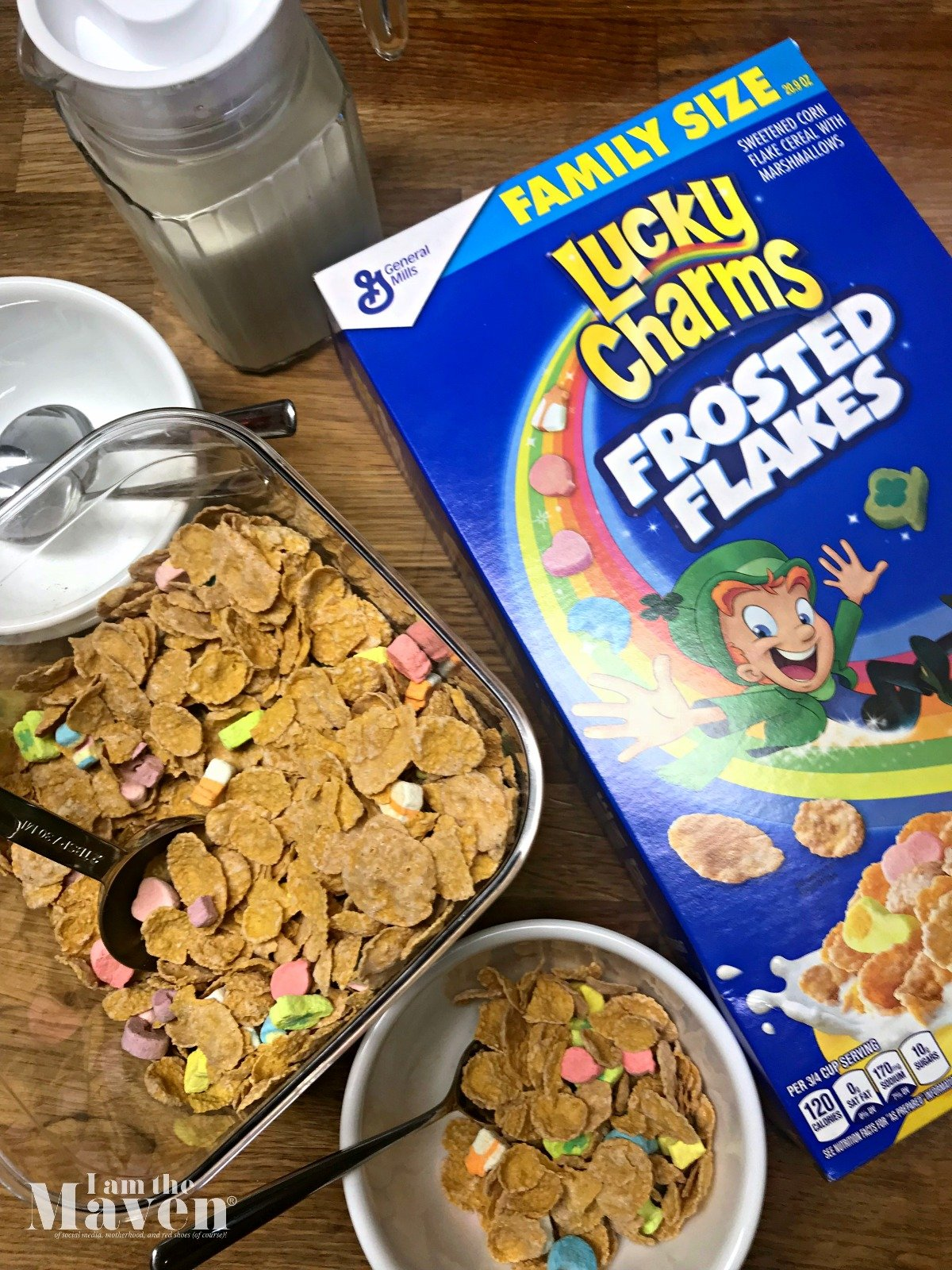 lucky charms frosted flakes on a counter