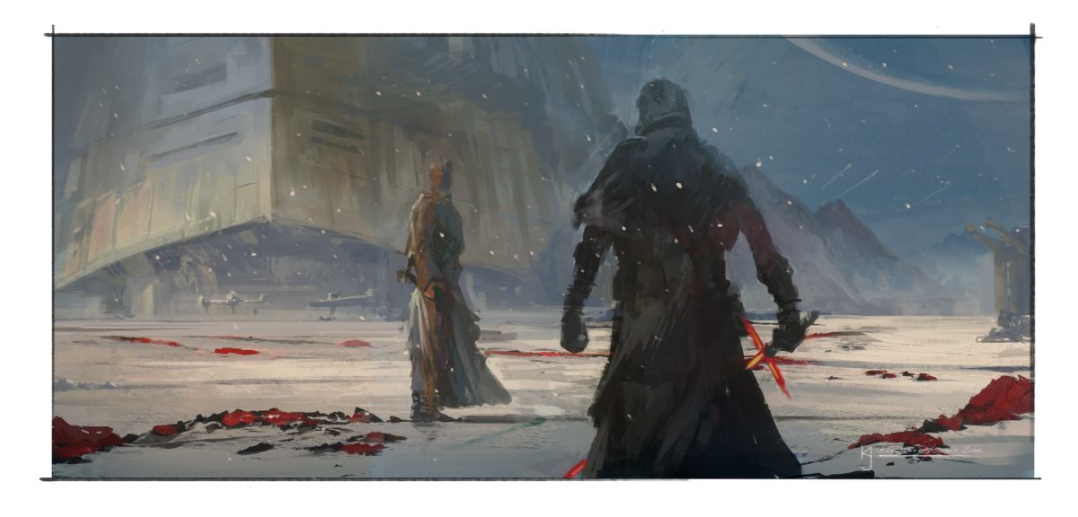 The Last Jedi Concept Art Luke and Kylo
